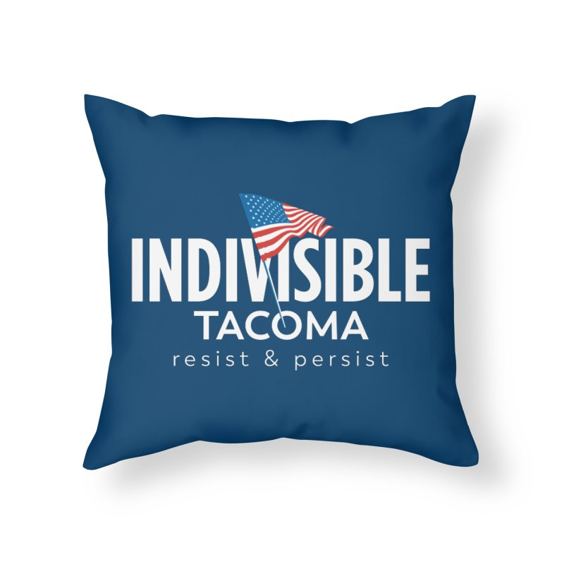 Inidivisible Tacoma flag logo - white Home Throw Pillow by SymerSpace Art Shop