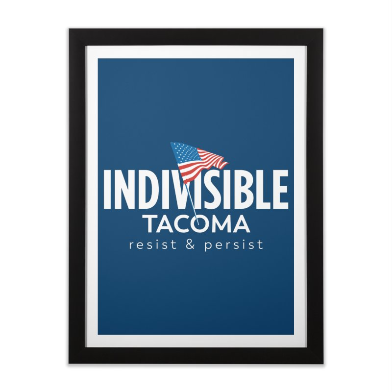 Inidivisible Tacoma flag logo - white Home Framed Fine Art Print by SymerSpace Art Shop