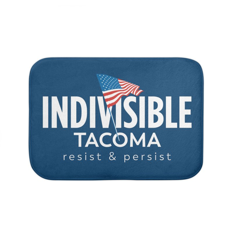 Inidivisible Tacoma flag logo - white Home Bath Mat by SymerSpace Art Shop