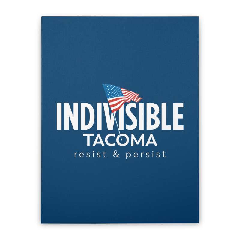 Inidivisible Tacoma flag logo - white Home Stretched Canvas by SymerSpace Art Shop