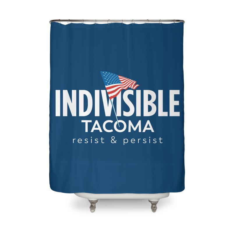 Inidivisible Tacoma flag logo - white Home Shower Curtain by SymerSpace Art Shop