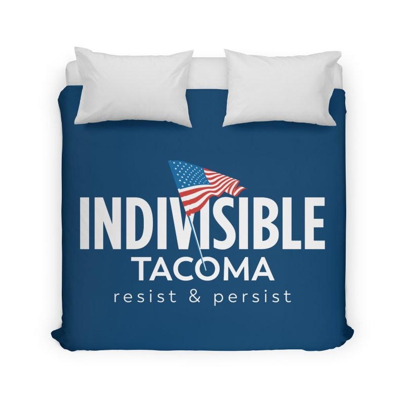 Inidivisible Tacoma flag logo - white Home Duvet by SymerSpace Art Shop