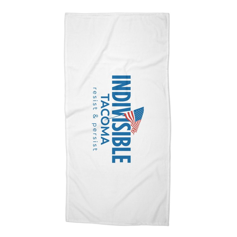 Indivisible Tacoma flag logo - blue Accessories Beach Towel by SymerSpace Art Shop
