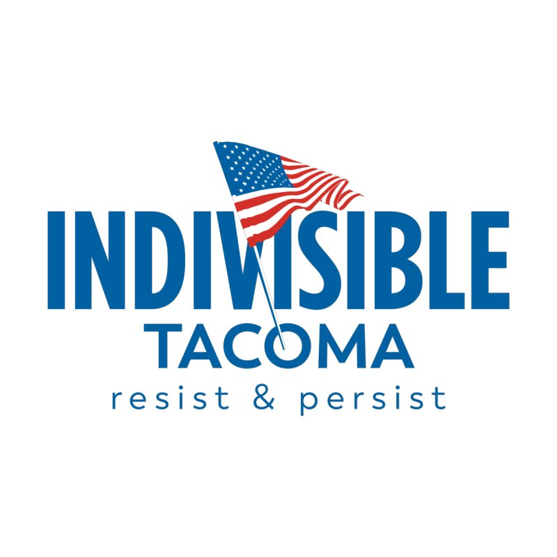 Indivisible Tacoma flag logo - blue Men's V-Neck by SymerSpace Art Shop