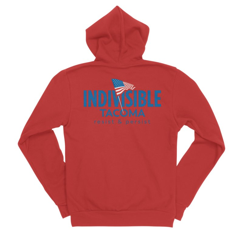 Indivisible Tacoma flag logo - blue Men's Zip-Up Hoody by SymerSpace Art Shop
