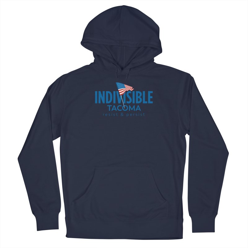 Indivisible Tacoma flag logo - blue Men's Pullover Hoody by SymerSpace Art Shop