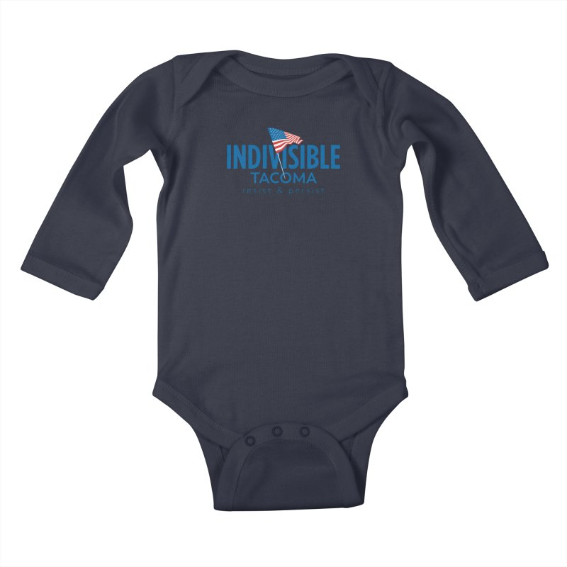Indivisible Tacoma flag logo - blue Kids Baby Longsleeve Bodysuit by SymerSpace Art Shop