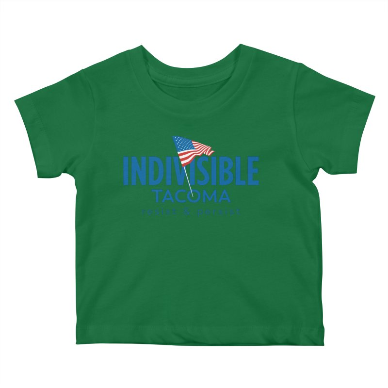 Indivisible Tacoma flag logo - blue Kids Baby T-Shirt by SymerSpace Art Shop