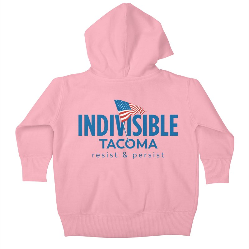 Indivisible Tacoma flag logo - blue Kids Baby Zip-Up Hoody by SymerSpace Art Shop