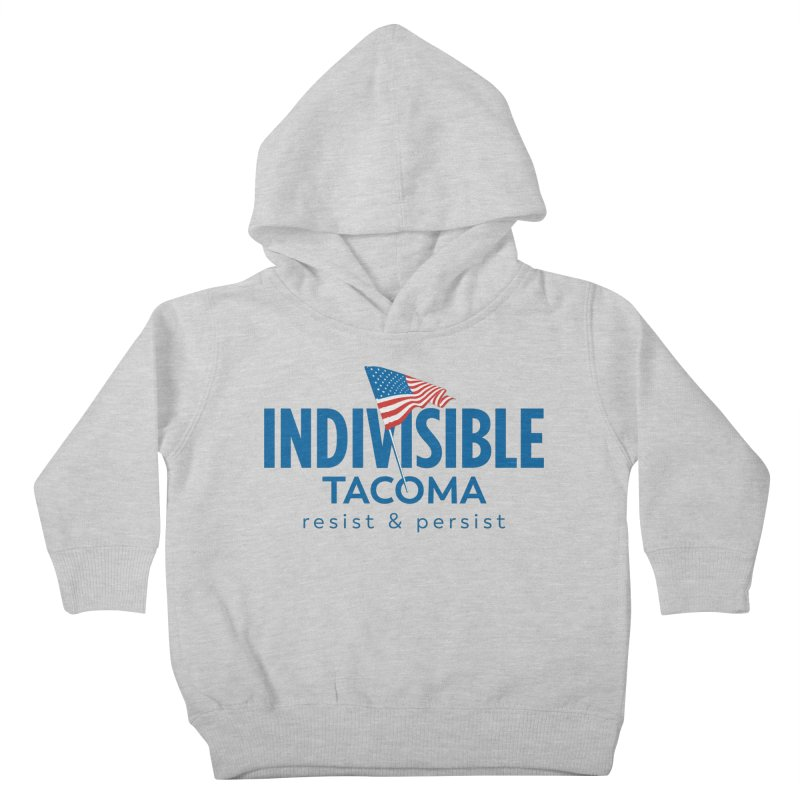 Indivisible Tacoma flag logo - blue Kids Toddler Pullover Hoody by SymerSpace Art Shop