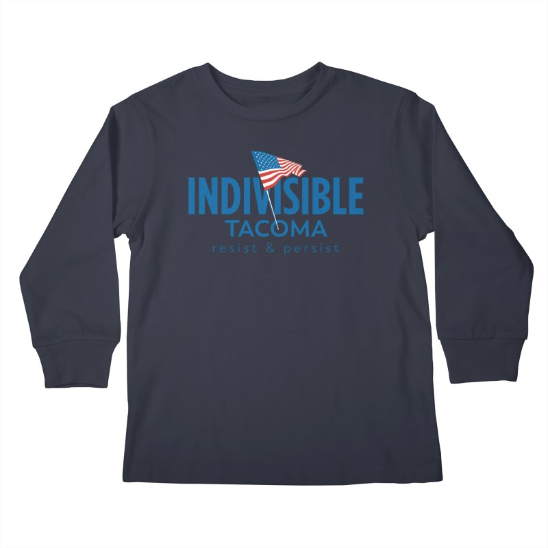 Indivisible Tacoma flag logo - blue Kids Longsleeve T-Shirt by SymerSpace Art Shop