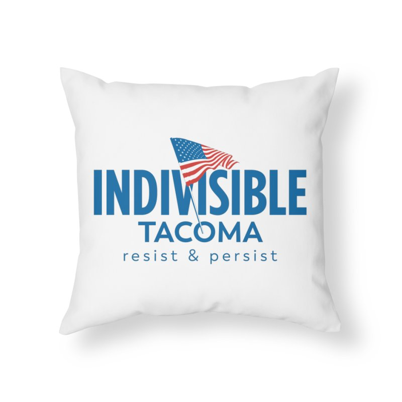 Indivisible Tacoma flag logo - blue Home Throw Pillow by SymerSpace Art Shop