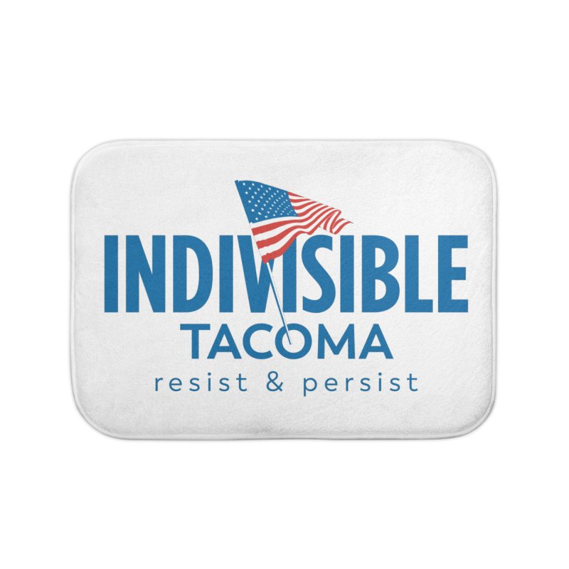 Indivisible Tacoma flag logo - blue Home Bath Mat by SymerSpace Art Shop