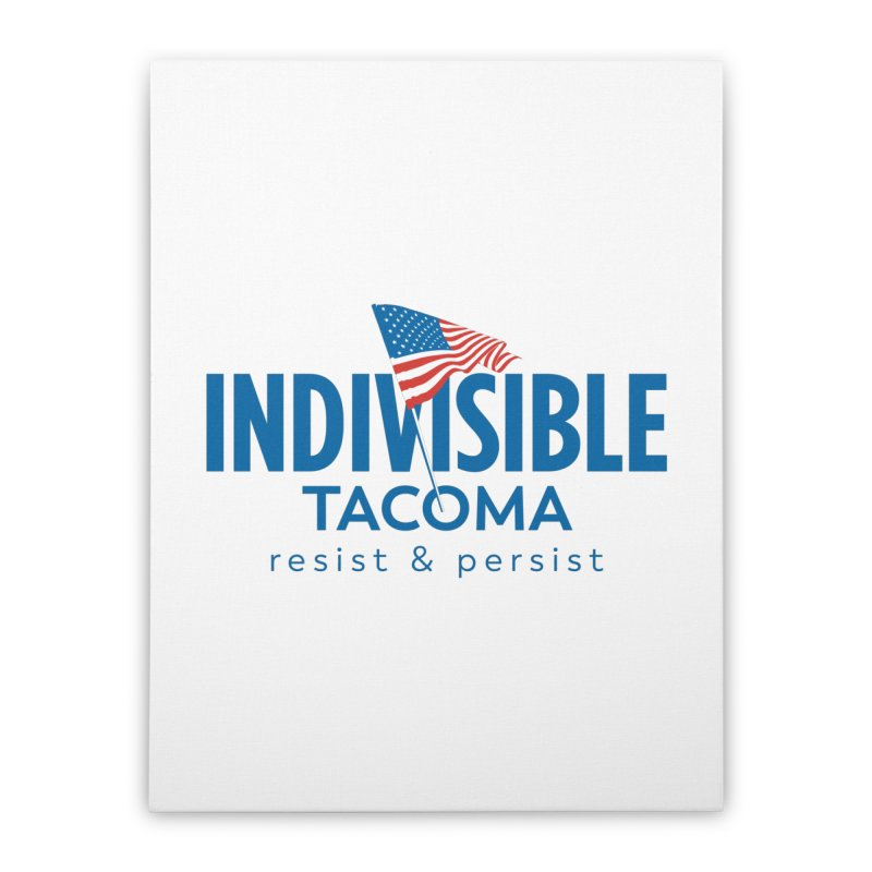 Indivisible Tacoma flag logo - blue Home Stretched Canvas by SymerSpace Art Shop