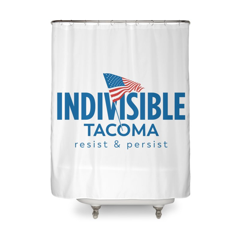 Indivisible Tacoma flag logo - blue Home Shower Curtain by SymerSpace Art Shop