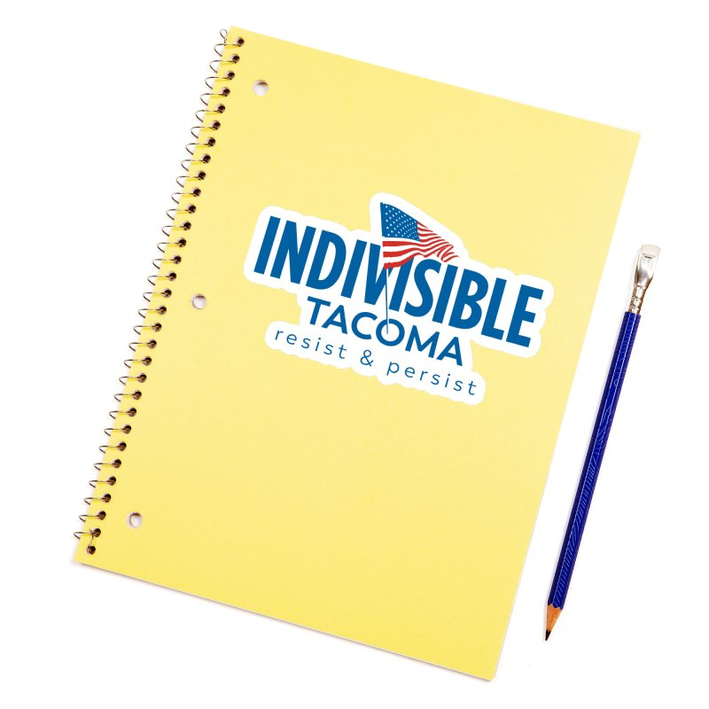 Indivisible Tacoma flag logo - blue Accessories Sticker by SymerSpace Art Shop