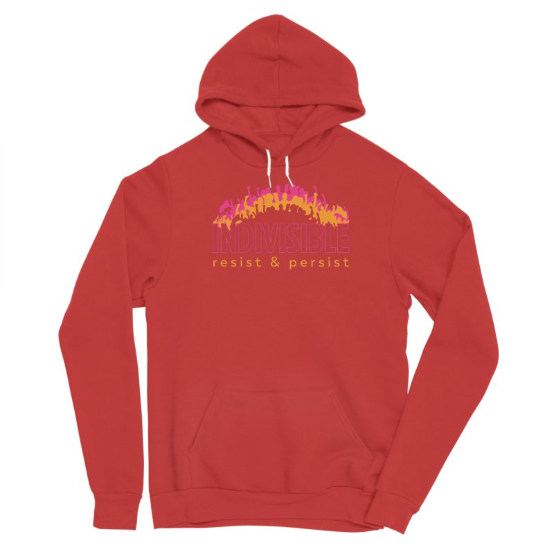 Indivisible crowd rising - orange and magenta Men's Pullover Hoody by SymerSpace Art Shop