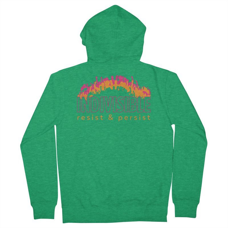 Indivisible crowd rising - orange and magenta Women's Zip-Up Hoody by SymerSpace Art Shop
