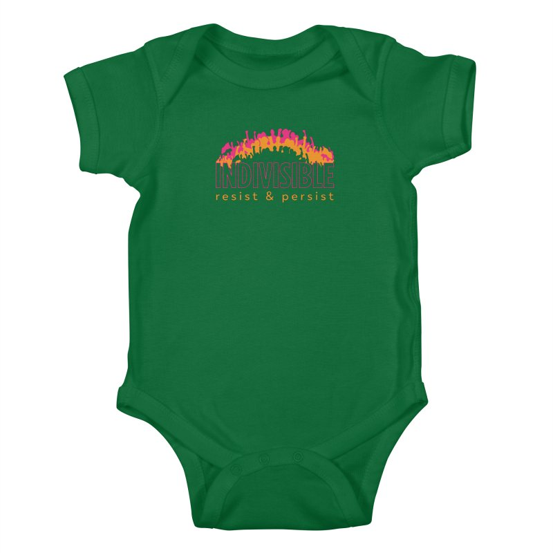Indivisible crowd rising - orange and magenta Kids Baby Bodysuit by SymerSpace Art Shop