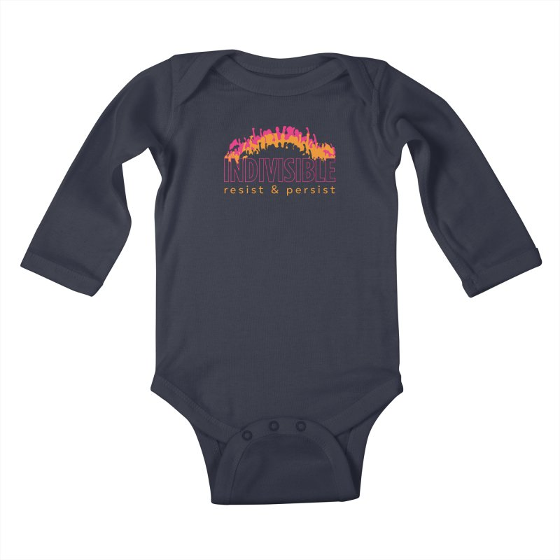 Indivisible crowd rising - orange and magenta Kids Baby Longsleeve Bodysuit by SymerSpace Art Shop