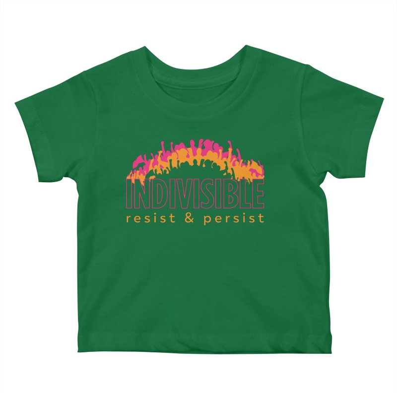 Indivisible crowd rising - orange and magenta Kids Baby T-Shirt by SymerSpace Art Shop