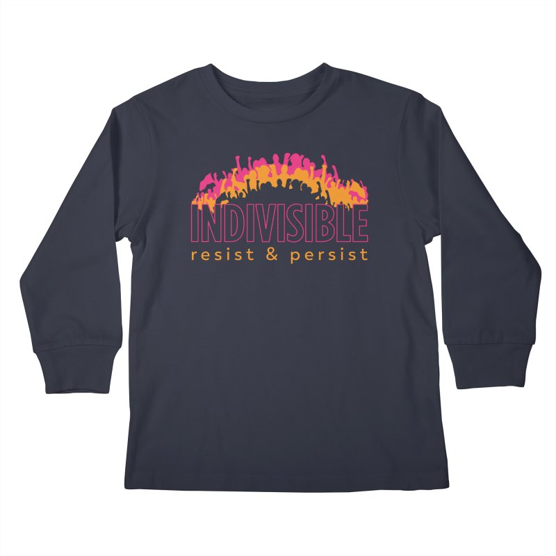 Indivisible crowd rising - orange and magenta Kids Longsleeve T-Shirt by SymerSpace Art Shop