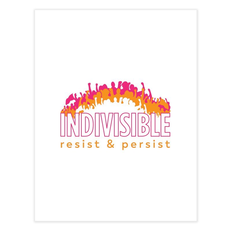 Indivisible crowd rising - orange and magenta Home Fine Art Print by SymerSpace Art Shop