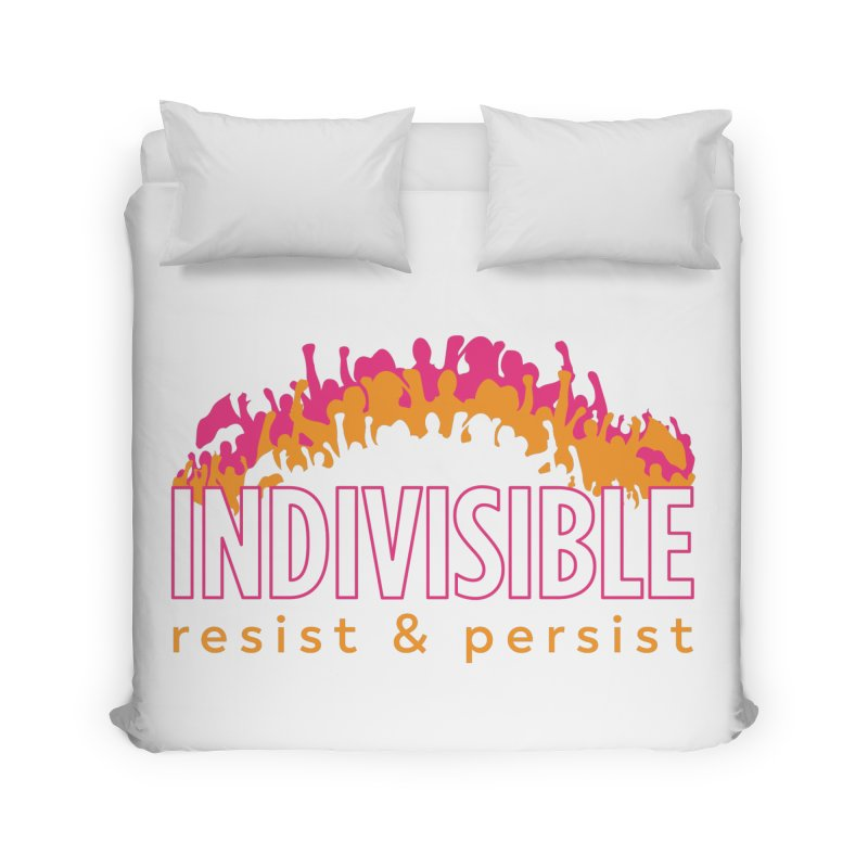 Indivisible crowd rising - orange and magenta Home Duvet by SymerSpace Art Shop