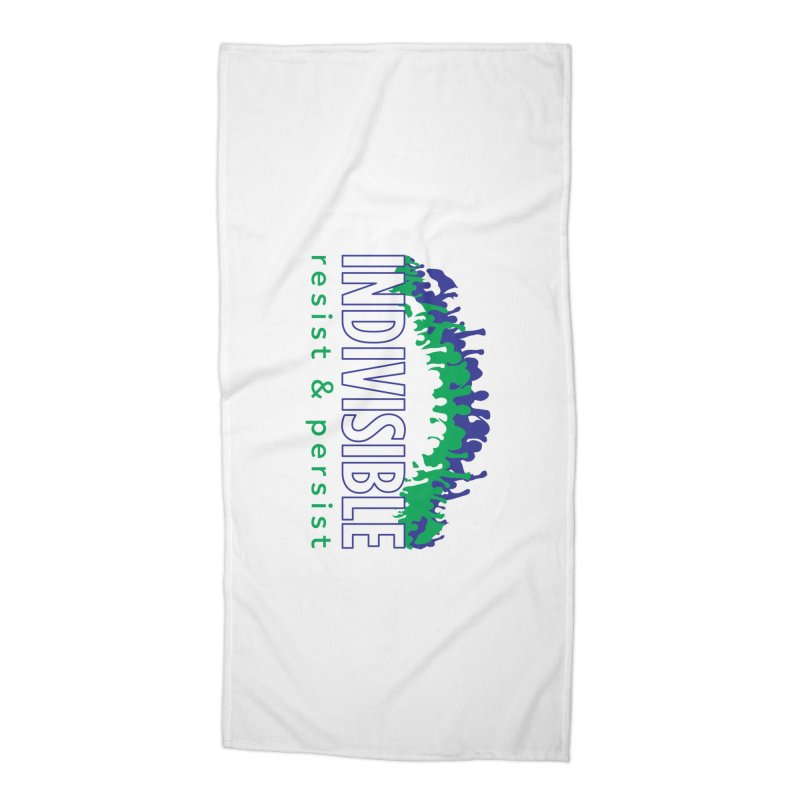 Indivisible crowd rising - blue and green Accessories Beach Towel by SymerSpace Art Shop