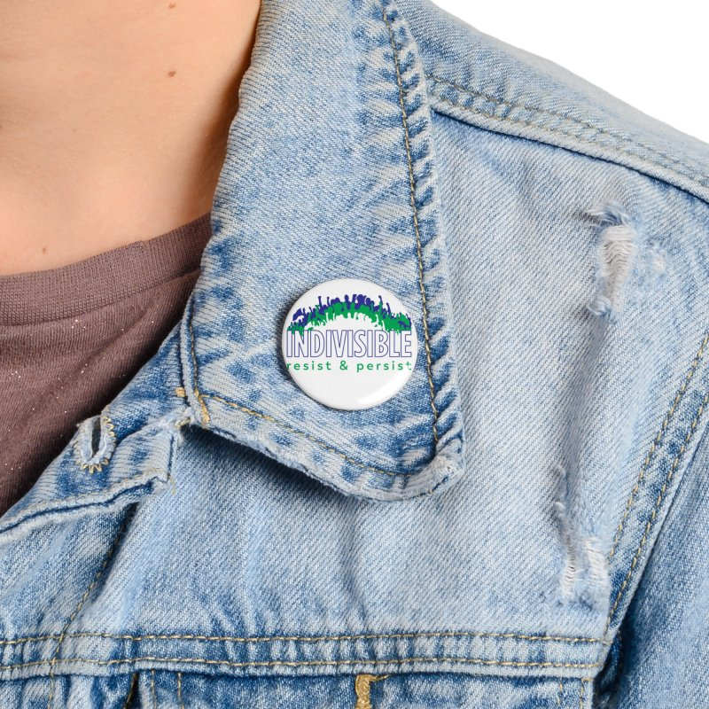 Indivisible crowd rising - blue and green Accessories Button by SymerSpace Art Shop