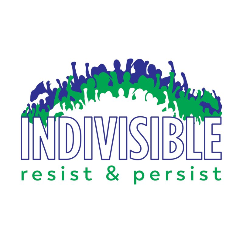 Indivisible crowd rising - blue and green Women's T-Shirt by SymerSpace Art Shop
