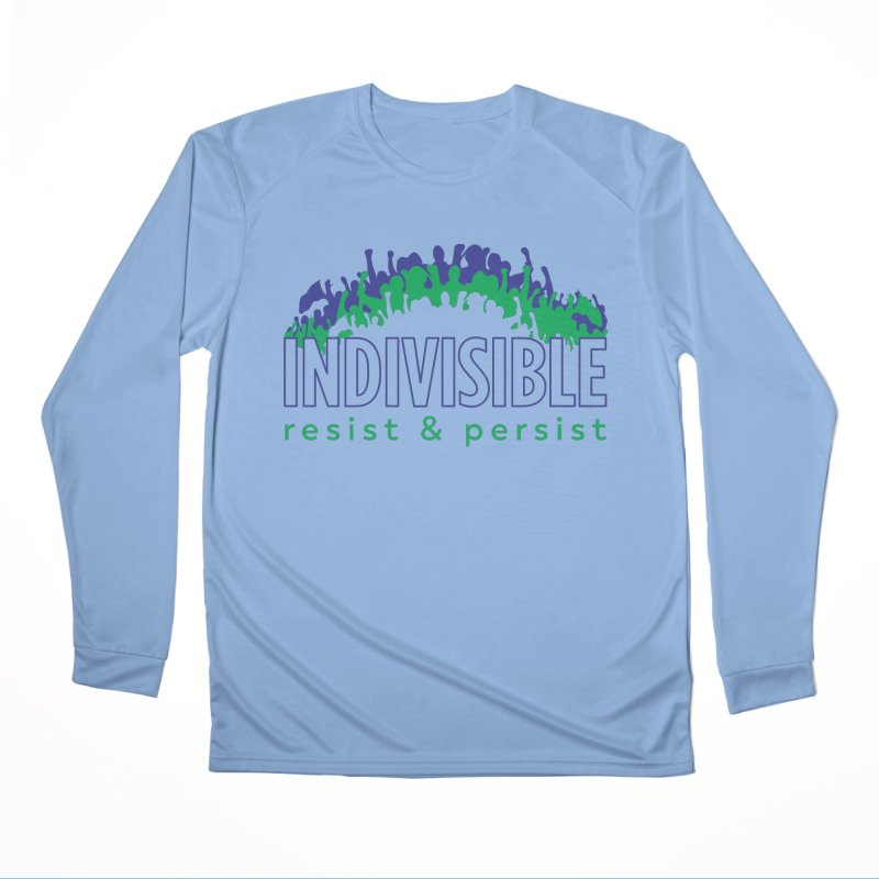Indivisible crowd rising - blue and green Women's Longsleeve T-Shirt by SymerSpace Art Shop