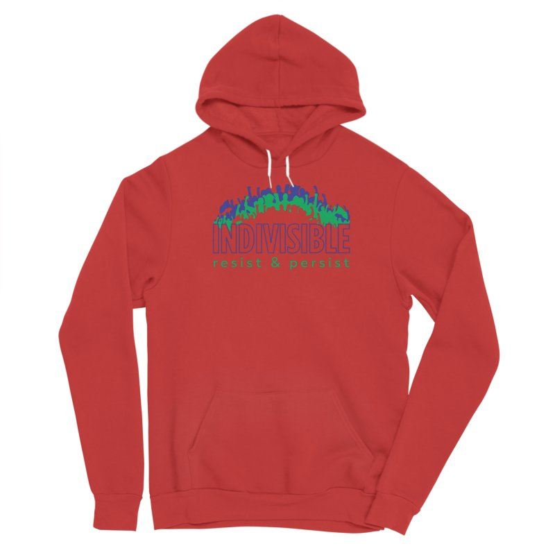 Indivisible crowd rising - blue and green Women's Pullover Hoody by SymerSpace Art Shop