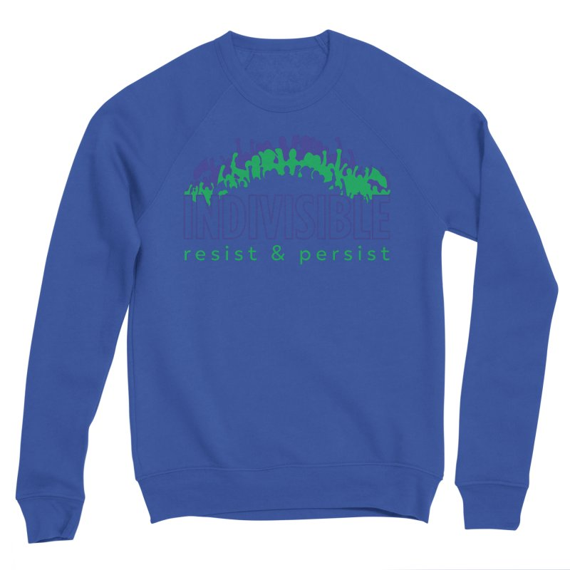 Indivisible crowd rising - blue and green Women's Sweatshirt by SymerSpace Art Shop