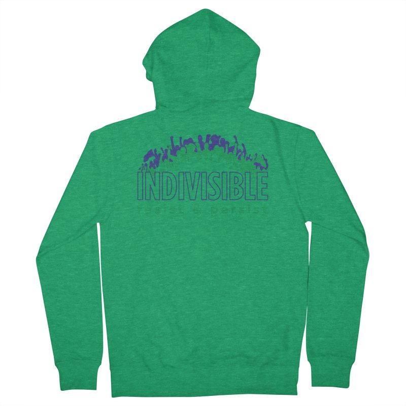 Indivisible crowd rising - blue and green Women's Zip-Up Hoody by SymerSpace Art Shop