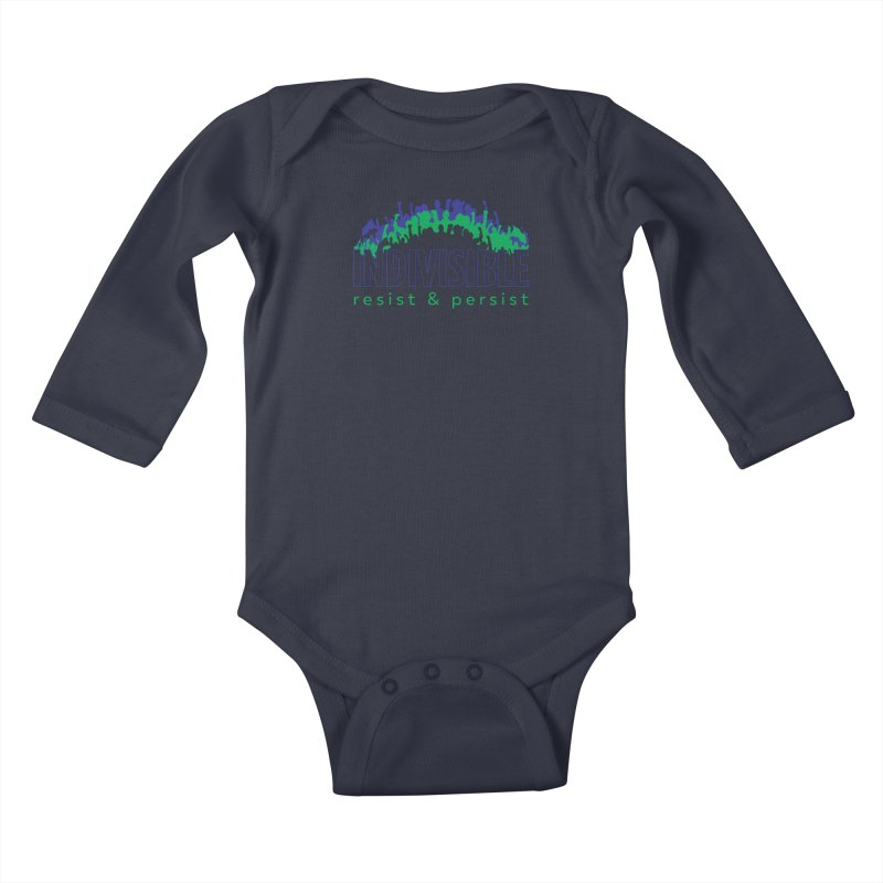 Indivisible crowd rising - blue and green Kids Baby Longsleeve Bodysuit by SymerSpace Art Shop