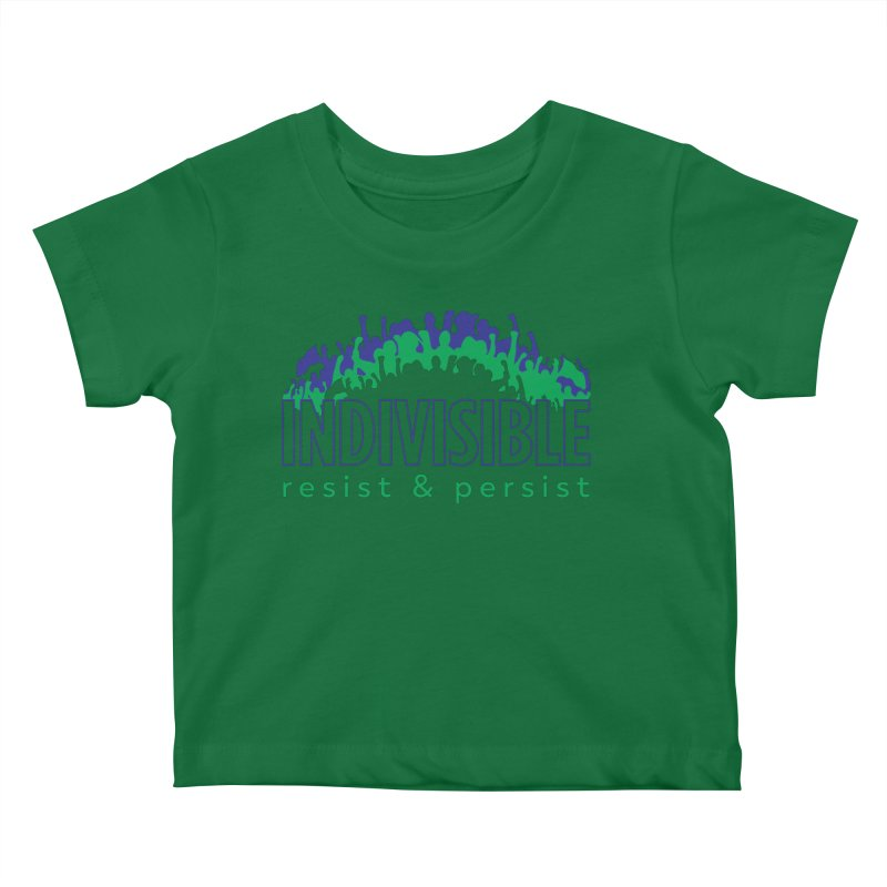 Indivisible crowd rising - blue and green Kids Baby T-Shirt by SymerSpace Art Shop