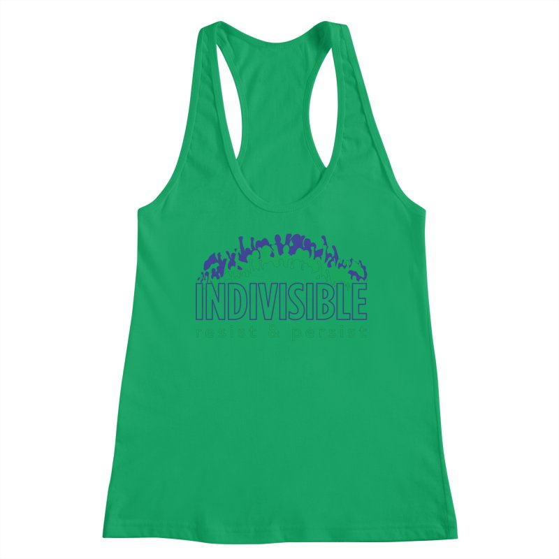 Indivisible crowd rising - blue and green Women's Tank by SymerSpace Art Shop