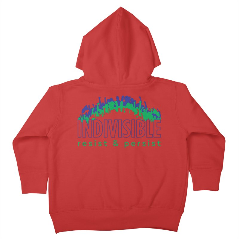 Indivisible crowd rising - blue and green Kids Toddler Zip-Up Hoody by SymerSpace Art Shop