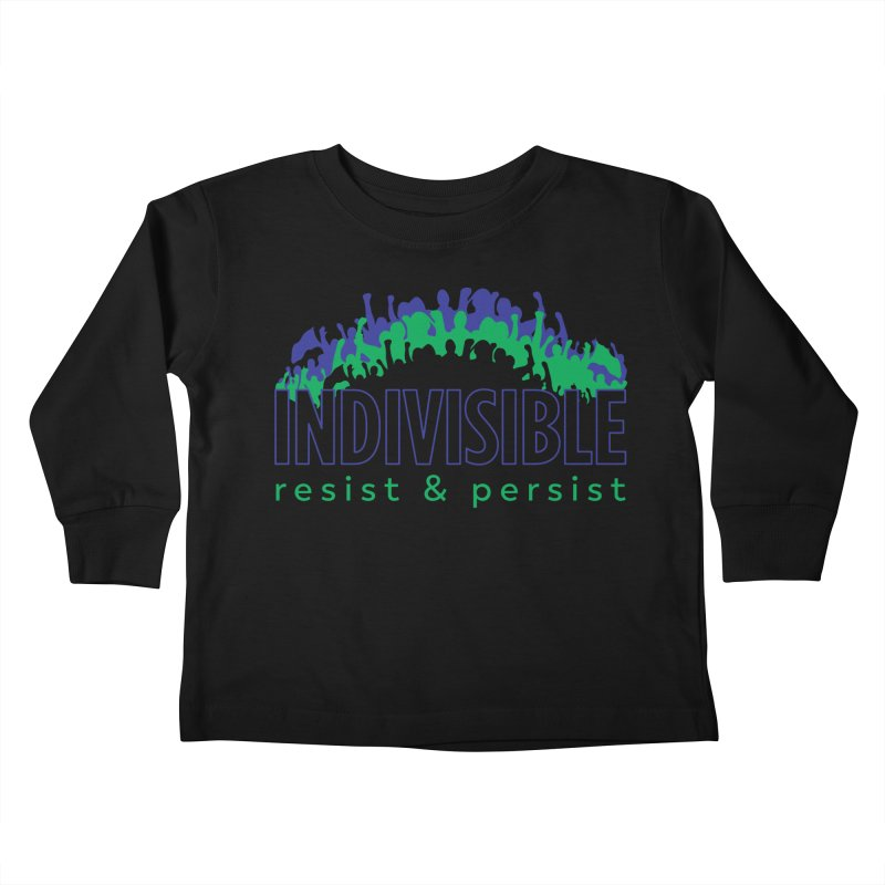 Indivisible crowd rising - blue and green Kids Toddler Longsleeve T-Shirt by SymerSpace Art Shop