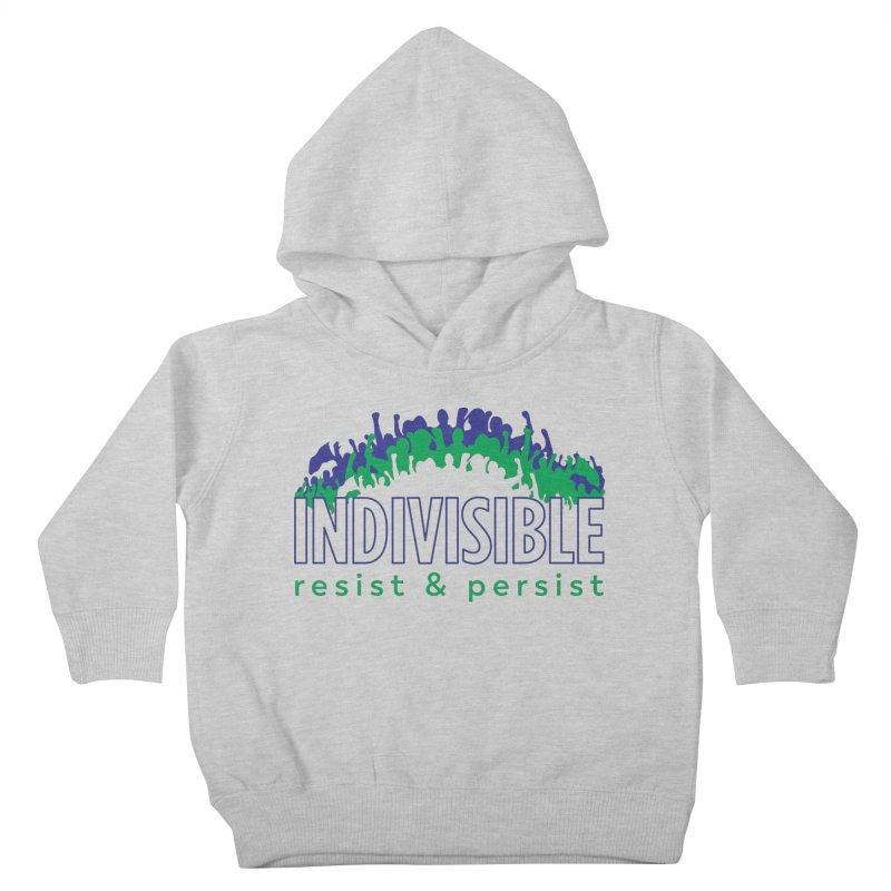 Indivisible crowd rising - blue and green Kids Toddler Pullover Hoody by SymerSpace Art Shop