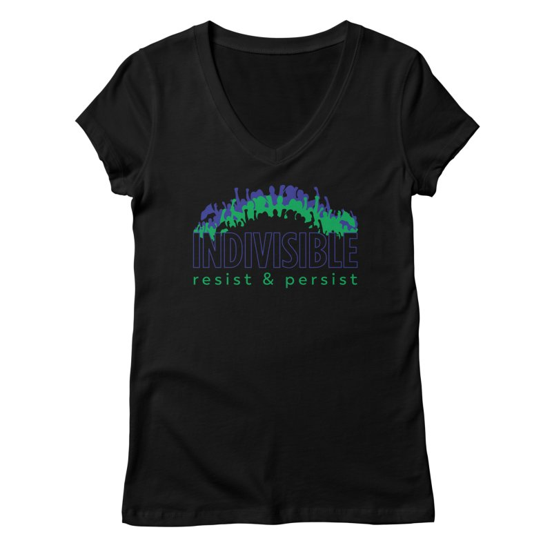 Indivisible crowd rising - blue and green Women's V-Neck by SymerSpace Art Shop