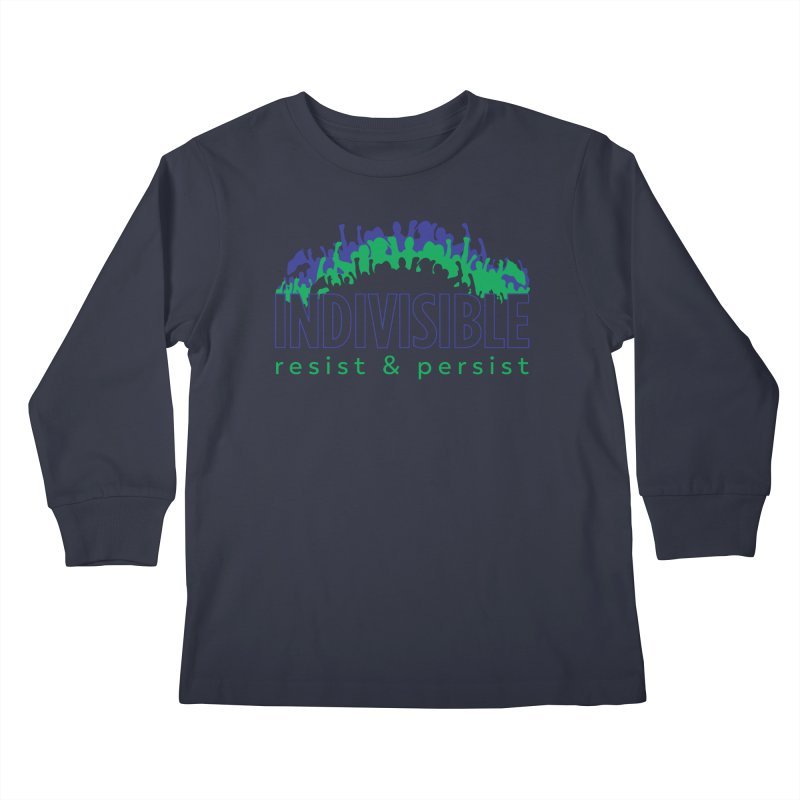 Indivisible crowd rising - blue and green Kids Longsleeve T-Shirt by SymerSpace Art Shop