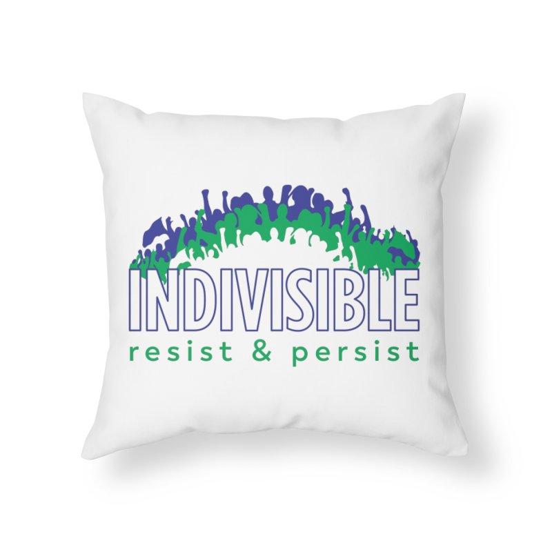 Indivisible crowd rising - blue and green Home Throw Pillow by SymerSpace Art Shop