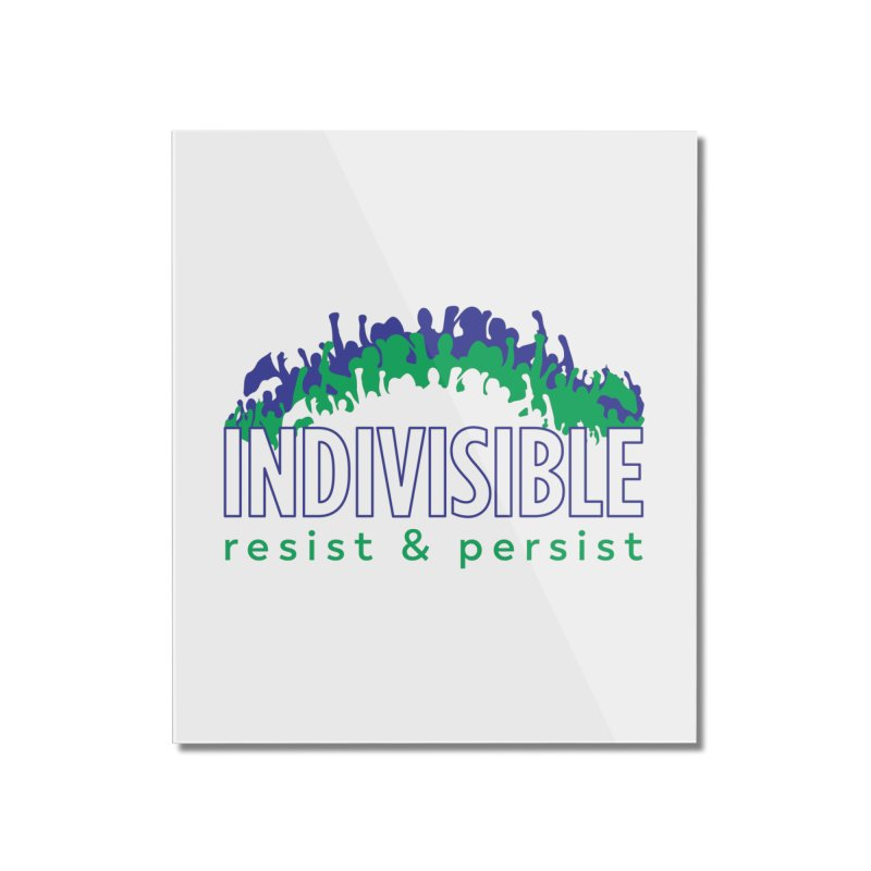Indivisible crowd rising - blue and green Home Mounted Acrylic Print by SymerSpace Art Shop