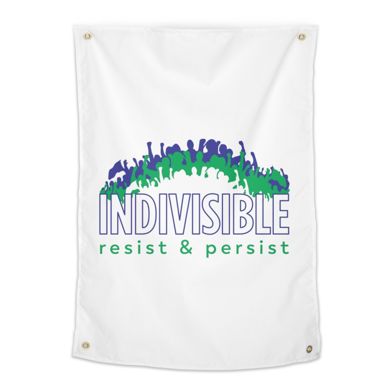 Indivisible crowd rising - blue and green Home Tapestry by SymerSpace Art Shop