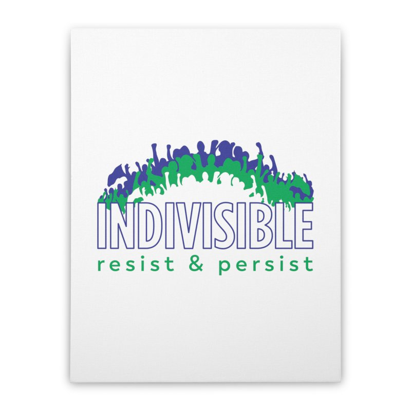 Indivisible crowd rising - blue and green Home Stretched Canvas by SymerSpace Art Shop