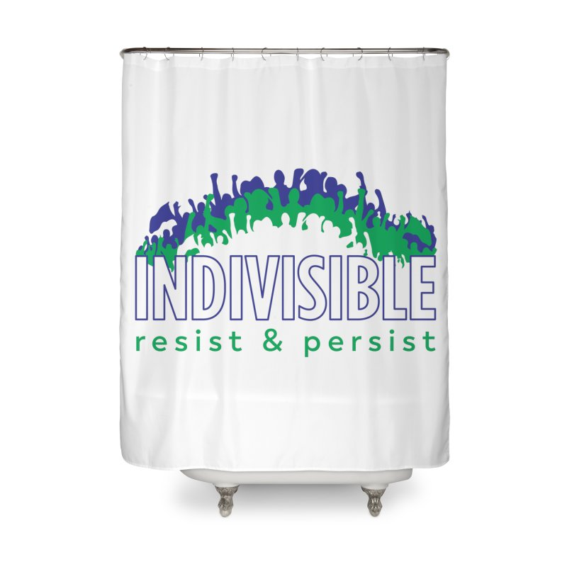 Indivisible crowd rising - blue and green Home Shower Curtain by SymerSpace Art Shop