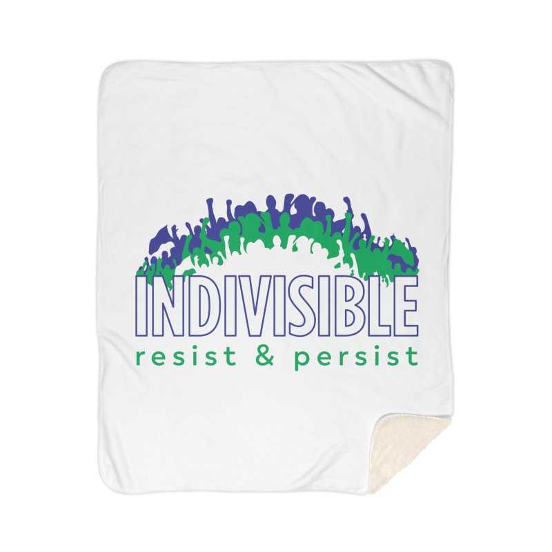 Indivisible crowd rising - blue and green Home Blanket by SymerSpace Art Shop