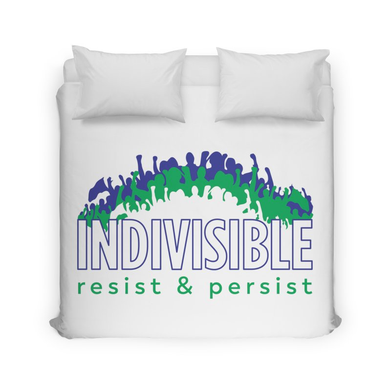 Indivisible crowd rising - blue and green Home Duvet by SymerSpace Art Shop